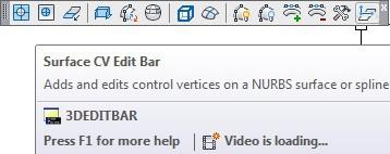 ابتدا آیکون فرمان Surface CV - Edit Bar را در نوار ابزار جایگذاری کرده، سپس روی آیکون کلیک چپ میکنیم.