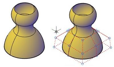 از این فرمان برای نمایش رئوس کنترلی سطوح از نوع NURBS استفاده میشود.